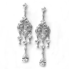 Bridal Earrings, Crystal & Rhinestone Silver Chandelier Earrings for Weddings 684 USABride. $69.95. Designed with five sizes of CZ rhinestones that truly sparkle like diamonds. Coordinates with any color wedding gown or formal dress. The antique style scroll pattern is so classic, and the three stand rhinestone drop oozes elegance. Sterling silver plated and measure just under 3 1/4 inches long and 1/2 an inch wide