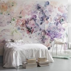 This Wish wall mural has a unique geometric design. The bubbles of color and print are filled with roses, cityscapes, mountains and greenery.