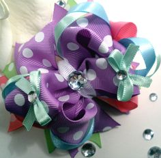 Girls Boutique Hair Bow Layered Spring Bling OTT by bloomandbling