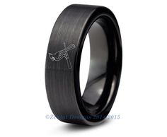 St Louis Cardinals Tungsten Wedding Band Ring Mens Womens Brushed Black MLB Sports Fan Anniversary