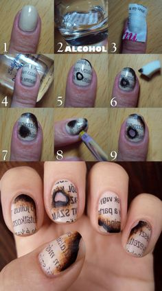 burnt paper nail art tutorial - I wish I knew who created this tutorial, but I can't find an original source for it!