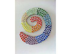 Mosaic art work 'Multicolor Koru' by artist Pia Lönnqvist