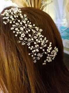 Pearl headpiece, bridal headpiece, pearl hair vine, bridal hair vine, pearl bridal headpiece, floral headpiece, wedding hair jewelry by DebMCreations on Etsy