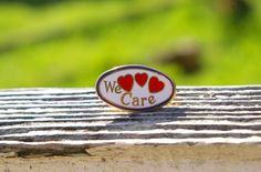 Wal-mart We Care Red Hearts & Gold Tone Metal Enamel Employee Lapel Pin…