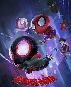 Spiderman into spider verse Spiderman Kunst, Chibi Spiderman, Chibi Marvel, Spiderman Spiderman, Marvel Dc Comics, Marvel Art, Marvel Memes, Amazing Spiderman, Chibi Poses