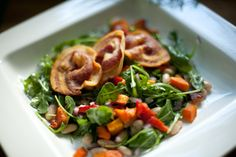 from the nato's: jo's winter salad Real Food Recipes, Cooking Recipes, Winter Salad, Arugula Salad, Baking Tips, Kung Pao Chicken, Butternut Squash, Green Beans, Menu