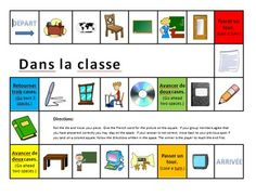 A traditional board game for practicing classroom or school vocabulary. Students roll a die and move and then give the word for the object pictured in the space in French. If they are correct, they stay on the square. If not, they return to their previous location.