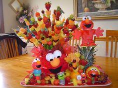 Elmo Fruit Kebob Creation