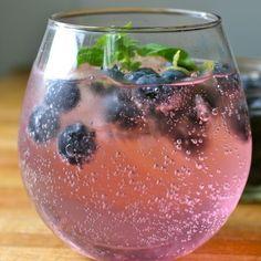 Basil and Blueberry Vodka Soda