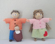 Bendy Doll Family, Dad Mom Baby, Dollhouse People, Waldorf, Pocket Doll