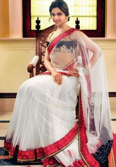 Deepika Padukone White Saree with Velvet Blouse To Buy online Click http://trendzila.com/trendzila-deals/14-deepika-padukone-white-saree-with-velvet-blouse.html