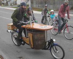 The Ottawa local Kichissippi beer bike must be pretty heavy when cycling uphill with a full keg on board.