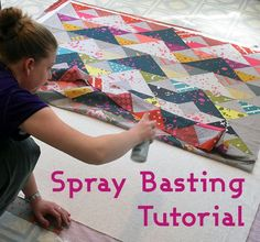 One of the questions that I am asked most often is about quilt basting. Do you have to use safety pins? I hardly ever use pins anymore since I discovered spray basting. It's faster, easier, no pins get in your way while quilting, and more importan Quilting 101, Quilting For Beginners, Free Motion Quilting, Quilting Tutorials, Machine Quilting, Quilting Projects, Quilting Designs, Sewing Tutorials, Sewing Tips