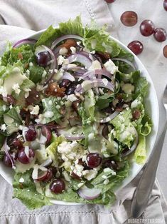 """This Grape Feta and Bacon Salad with Creamy Dijon Dressing uses a simple formula to make a """"gourmet"""" salad both easy and affordable. Step by step photos. Gluten Free Recipes, Vegan Recipes, Cooking Recipes, Cooking Ideas, Delicious Recipes, Food Ideas, Pork Recipes, Salad Recipes, Grape Recipes"""