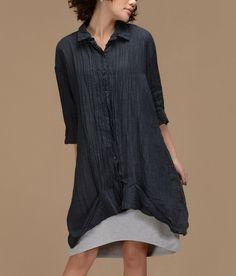 Irregular Hem Crinkle Linen Shirt-zenb.com SKU ba0579