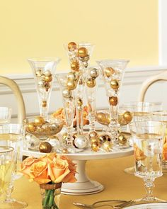 champagne flute centerpiece