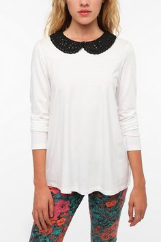NEED  Pins and Needles Eyelet Collar Long-Sleeved Tee  #UrbanOutfitters