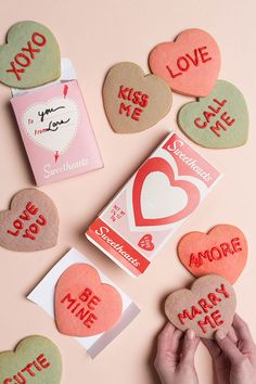 Conversation heart cookies & printable box