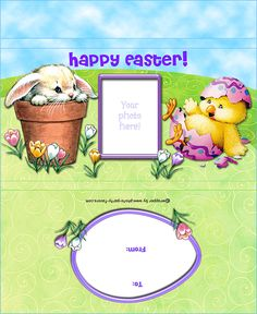 Easter Bunny and Chick Free Printable Candy Bar Wrapper, fits a large 5.5 oz. chocolate bar, ready to personalize with your photo and message.