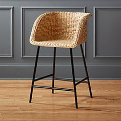 Shop Silas Seagrass Counter Stool Natural seagrass forms solid bucket seat that cradles in comfort. Matte black metal legs stand their ground below. Silas Seagrass Bar Stools is a exclusive. Seagrass Bar Stools, Rattan Counter Stools, Counter Height Bar Stools, Kitchen Counter Stools, Bar Chairs, Rattan Stool, Dining Chairs, Kitchen Island, Room Chairs