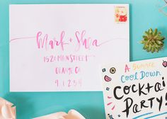 Summer Frozen Cocktail Party Inspiration by Oh So Beautiful Paper / Photo by Sweet Root Village / Calligraphy by A Fabulous Fete
