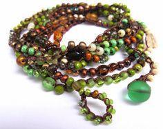 Crochet beaded wrap bracelet forest belle lariat by CoffyCrochet - SOLD