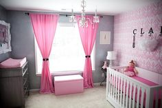 pink & gray girls room. love the wallpaper. that chand. & the white frame.