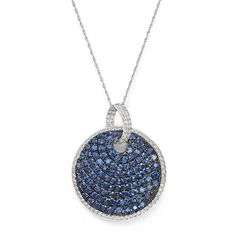 """Sapphire and Diamond Disc Pendant Necklace in 14K White Gold, 18"""" (301.635 RUB) ❤ liked on Polyvore featuring jewelry, necklaces, disc necklace, diamond necklace, 14 karat white gold necklace, disc pendant necklace and diamond jewelry"""