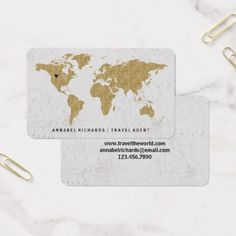 Chic Gold Foil World Map Travel Agency or Blogger Business Card - chic design idea diy elegant beautiful stylish modern exclusive trendy