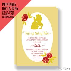PRINTABLE INVITATIONS Tale as Old as Time, Beauty and the Beast, Bridal Shower Invitations, Bridal Invites, Princess Bridal Shower, Belle