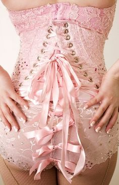 lace up light pink lingerie for the wedding night