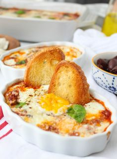 Baked Eggs with Pepperoni and Fresh Mozzarella | yestoyolks.com