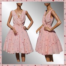 Vintage 60s Pink Party Dress // 1960s Silk w Abstract Floral Print Ladies Size Medium