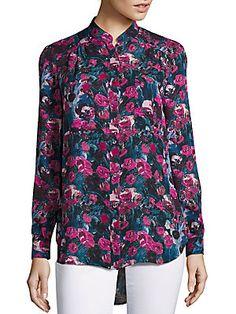 Haute Hippie Floral Printed High-Low Hem Shirt - Cotton Gin Floral - S