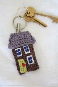 crocheted house keychain
