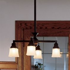 mission interior lighting | Mission Style Lighting: Oak Park 4-Light Glass Down Fixture