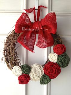 14 inch Grapevine Wreath, Red, White, & Green Burlap Flowers and Red Bow, Rustic, Primitive, Christmas, Winter Wreath