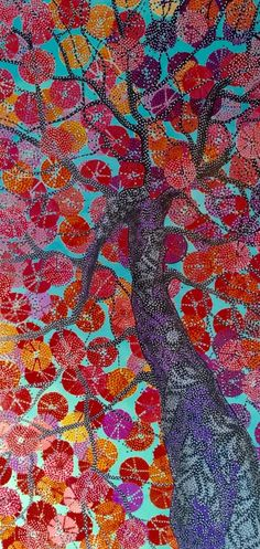 """""""After the Rain"""" is a contemporary tree paintings with a fresh color palette and finished with pointillism. The piece is full of life, pattern and texture. Tree Paintings, Paintings For Sale, Galaxy Converse, Pointillism, Art Techniques, Acting, Rain, Palette, Artists"""