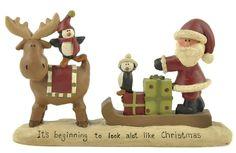 Look Like Christmas Moose w.Sleigh & Santa Resin Figure