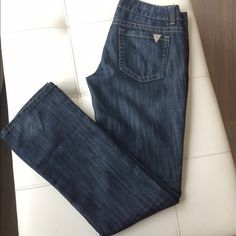 "Guess Premium Denim - Pismo Straight  Classy dark wash denim, no distressing. Perfect condition! Cotton/poly blend. 33"" inseam approx... Worn a handful of times... Zipper in perfect condition. Guess Pants Straight Leg"
