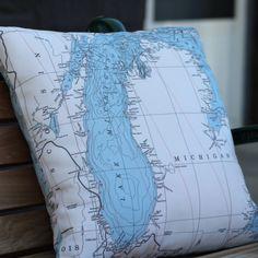 Lake Michigan Map Pillow