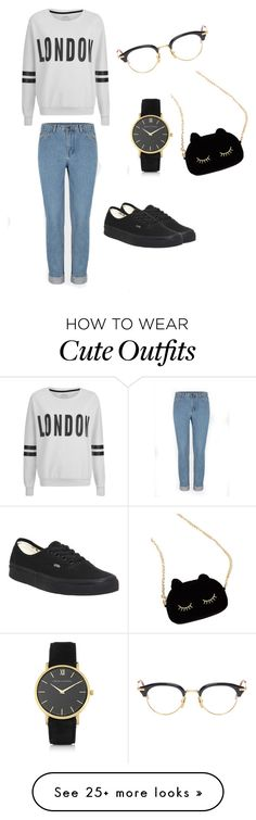 """My First Polyvore Outfit"" by captainiraah on Polyvore featuring Larsson & Jennings, ONLY, Vans, WithChic, Thom Browne, women's clothing, women's fashion, women, female and woman"
