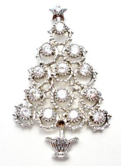 Christmas Tree Sterling Silver Crystal Pendant Brooch