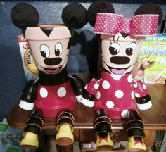 Mickey & Minnie Flower Pots I made to sell 7/10/13. I think these are my favorite so far, I'm very proud of them!