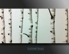 Original textured acrylic birch tree abstract by YueJinArt on Etsy Abstract Landscape Painting, Landscape Paintings, Modern Wall Decor, Wall Art Decor, Acrylic Painting Canvas, Canvas Wall Art, The Originals, Birch, Artwork