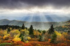 Blue Ridge Parkway Light Rays in fall  by Dave Allen Photography