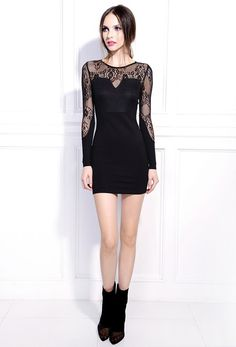 I found 'Starry Lace long-sleeved dress black' on Wish, check it out!