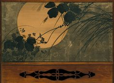Autumn Grasses in Moonlight, Meiji period (1868–1912), ca. 1872–91  Shibata Zeshin (Japanese, 1807–1891)  Two-panel folding screen; ink, lacquer, and silver leaf on paper