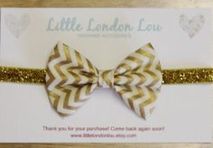 Baby, Toddler, Girl Fabric Bow Clip or Headband- Gold Chevron with Gold Elastic