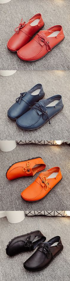 US$18.23 Big Size Leather Lace Up Loafers Flat Casual Shoes For Women